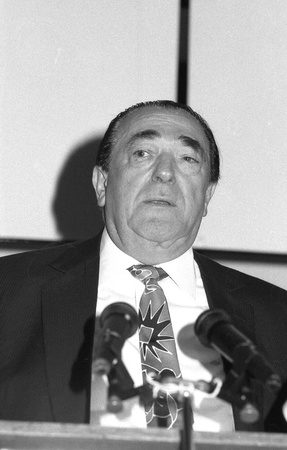 maxwell: London, England - April 17, 1991 - Czech born, British media tycoon Robert Maxwell speaks at a press conference. He died at sea in November 1991.
