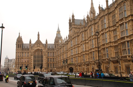London, England - March 17, 2011 - Exterior view of the Houses of Parliament (Palace of Westminster).