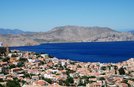 Looking down on the village of Chorio on the Greek island of Symi. Stock Photo