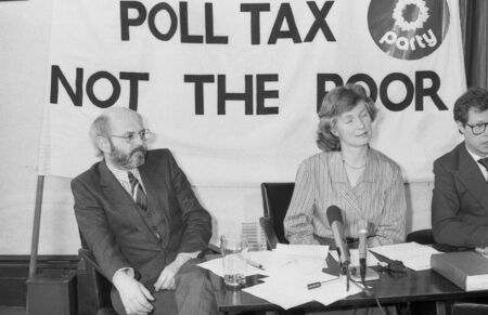 hugo: London, England - March 29, 1990 - The Green Party hold a press conference on the Poll Tax (L-R Ron Bailey, Janet Alty, Hugo Charlton). Editorial