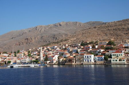 halki: Halki, Greece - June 16, 2010 - Looking towards Emborio on the Greek island of Halki. Editorial