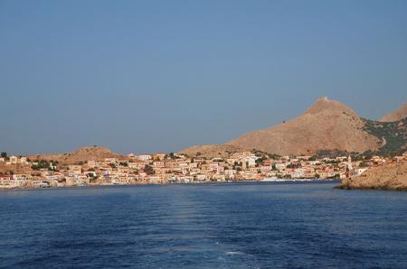 emborio: Halki, Greece - June 16, 2010 - Looking towards Emborio on the Greek island of Halki. Editorial
