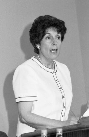 shephard: Londra, Inghilterra - 27 giugno 1991 - Gillian Shephard, Vice Presidente del partito conservatore e membro del Parlamento per Norfolk Sud Ovest, parla in una conferenza del partito.