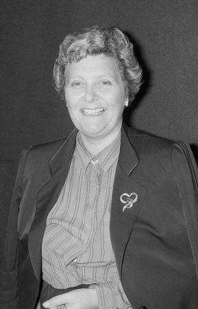 erhaltend: Blackpool, England - 10. Oktober 1989 - Rt.Hon. Lynda Chalker, Minister f�r Entwicklungshilfe und Konservative Partei Mitglied des Parlaments f�r Wallasey, besucht die Parteikonferenz.