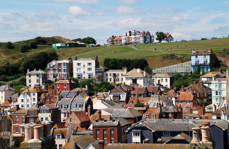 Hastings, England - July 30, 2011 - Looking over the Old Town district towards the slopes of the west Hill.