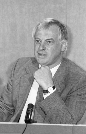 London, England - September 9, 1991 - Rt.Hon. Christopher Patten, Chairman of the Conservative Party and Member of Parliament for Bath, attends a press conference. He was later the last Governor of Hong Kong. Stock Photo - 11767764