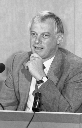 London, England - September 9, 1991 - Rt.Hon. Christopher Patten, Chairman of the Conservative Party and Member of Parliament for Bath, attends a press conference. He was later the last Governor of Hong Kong. Editorial