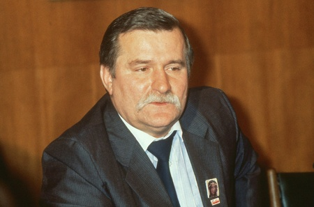 London, England - November 30, 1989 - Lech Walesa, President of Poland, attends a press conference at the Trades Union Congress. Editorial