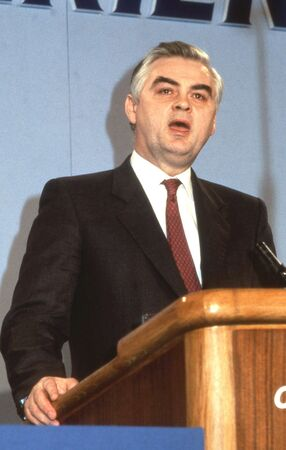 chancellor: London, England - June 27, 1991 - Rt.Hon. Norman Lamont, Chancellor of The Exchequer, speaks at a party conference. Editorial
