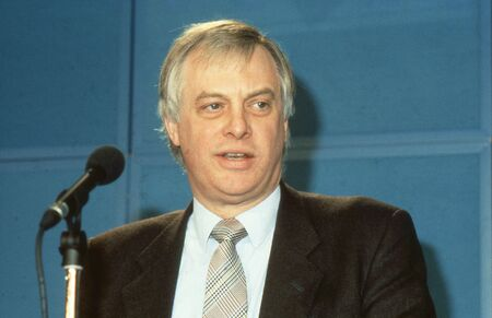 London, England - April 10, 1991 - Rt.Hon. Christopher Patten, Chairman of the Conservative party and Member of Parliament for Bath, speaks at a press conference. In July 1992 he became the last Governor of Hong Kong. Stock Photo - 12571599