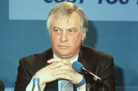 London, England - April 10, 1991 - Rt.Hon. Christopher Patten, Chairman of the Conservative party and Member of Parliament for Bath, attends a press conference. In July 1992 he became the last Governor of Hong Kong. Stock Photo - 12571596