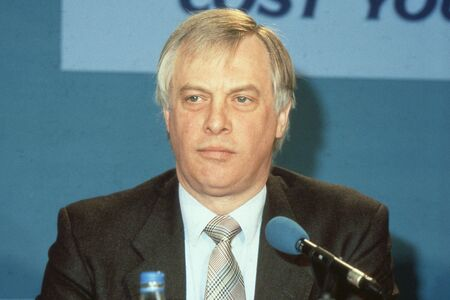 London, England - April 10, 1991 - Rt.Hon. Christopher Patten, Chairman of the Conservative party and Member of Parliament for Bath, attends a press conference. In July 1992 he became the last Governor of Hong Kong. Stock Photo - 12571598