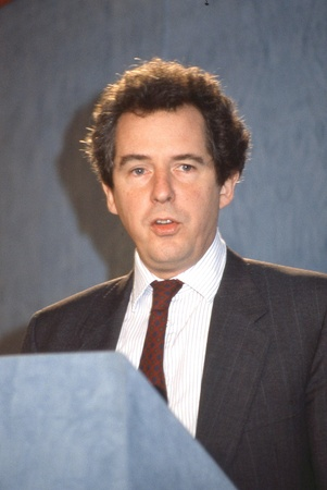 London, England - February 28, 1992 - Rt.Hon. William Waldegrave, Secretary of State for Health and Conservative party Member of Parliament for Bristol West, speaks at a press conference. Stock Photo - 12641743