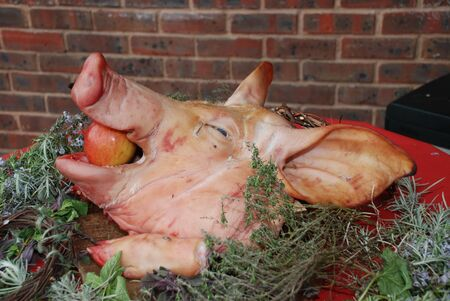 A pigs head stuffed with a red apple at a medieval themed banquet. Stock Photo