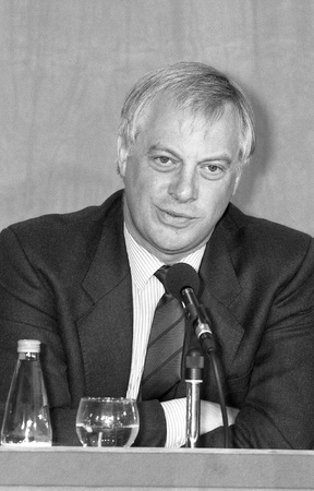 London, England - July 30, 1991 - Rt.Hon. Chris Patten, Chairman of the Conservative party, attends a press conference. In July 1992 he became the last Governor of Hong Kong.