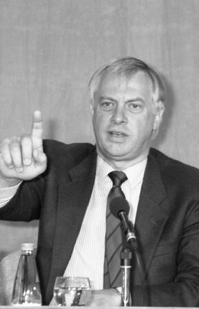 chris: London, England - July 30, 1991 - Rt.Hon. Chris Patten, Chairman of the Conservative party, speaks at a press conference. In July 1992 he became the last Governor of Hong Kong.
