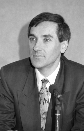 London, England - February 26, 1992 - John Redwood, Minister of State for Trade and Industry and Conservative party Member of Parliament for Wokingham, attends a press conference. Stock Photo - 13096165