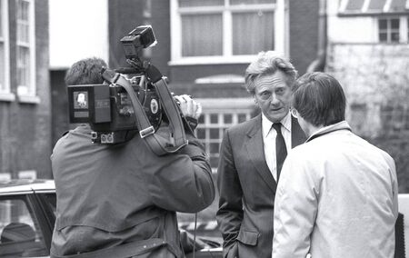 London, England - February 26, 1992 - Rt.Hon. Michael Heseltine, Secretary of State for the Environment and Conservative M.P. for Henley, takes part in a television news interview. Stock Photo - 13182363