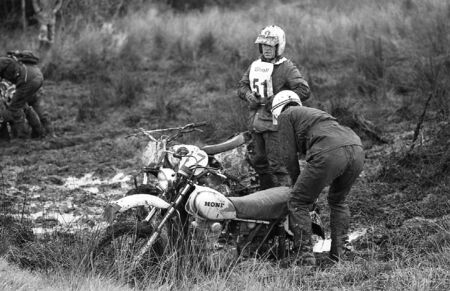 enduro: Sudbury, England - November 27, 1977 - Competitors bogged down in mud during the Sudbury Stages Enduro race. Editorial