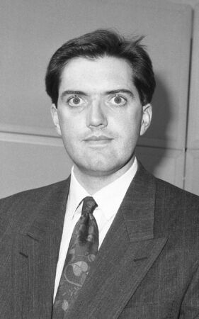 parliamentary: London, England - December 12, 1990 - Mark Jones, Conservative party Parliamentary Candidate for Islington South and Finsbury, attends a photo call at Conservative Central Office.