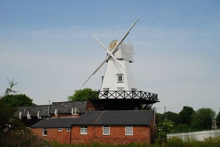 smock: The traditional wooden smock windmill at Rye in East Sussex, England.