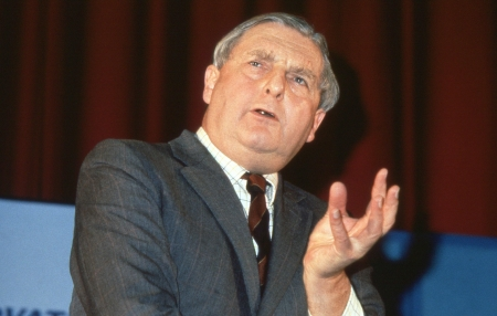 London, England - December 1, 1990 - Rt.Hon. Sir Patrick Mayhew, Attorney General and Conservative party Member of Parliament for Tunbridge Wells, speaks at a party conference. Stock Photo - 14146395