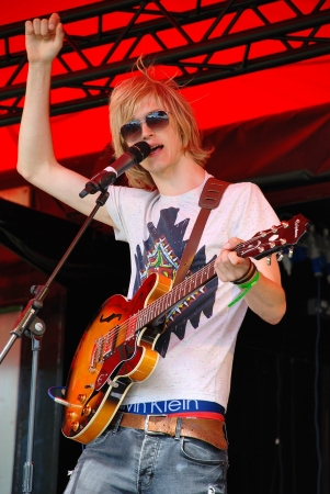 davenport: Tenterden, England - June 30, 2012 - Max Davenport, lead singer of British indie band Out Side Room, performs at the Tentertainment music festival. The annual festival was first held in 2008. Editorial