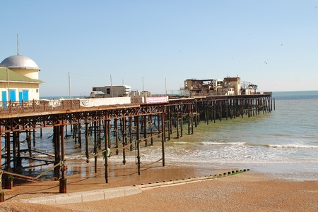 The Victorian pier at Hastings in East Sussex, England, March 2012   It was badly damaged by fire in October 2010 Stock Photo - 14681195