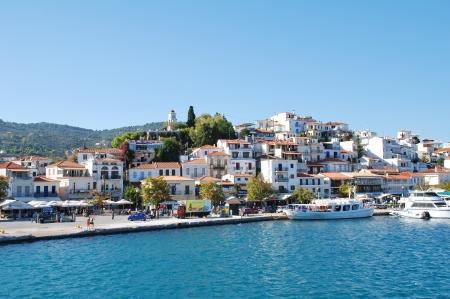 skiathos: Skiathos, Greece - September 21, 2012 - Boats moored in the harbour at Skiathos Town on the Greek island of Skiathos. Editorial