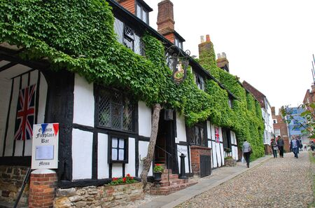 Rye, England - June 2, 2012 - The historic Mermaid Inn in Rye, East Sussex. Orginally dating from the 12th Century the Inn was rebuilt in 1420.