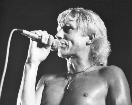 London, England - July 21, 1978 - Andy Ellison, lead singer of British rock band Radio Stars, performs live on stage. He was previously in the band John's Children with the late Mark Bolan.