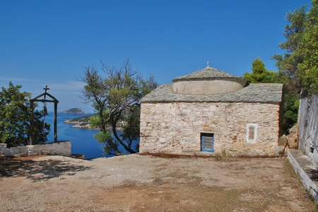 The fifteenth century chapel of Agios Kosmas at Agii Anargiroi on the Greek island of Alonissos  photo