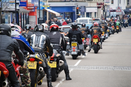 Hastings, England - May 7, 2012 - Motorcyclists ride through the streets at the annual, May Day, bikers rally. The event attracts riders from across Southern England.