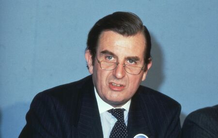 conservative: London, England - April 4, 1990 - Sir Peter Bowness, Leader of Croydon Council, speaks at a Conservative party conference. Editorial