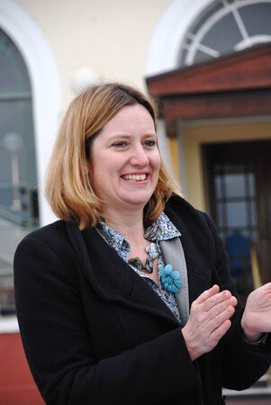 hastings: Hastings, England - March 12, 2011 - Amber Rudd, Conservative party Member of Parliament for Hastings and Rye, attends a charity event on the seafront.