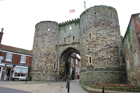 Rye, England - June 2, 2012 - The medieval Landgate in the Cinque Port town of Rye. It is the last remaining of four fortifications built in 1329 to help defend the town.