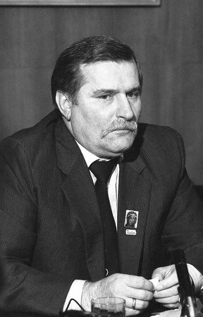 London, England - November 30, 1989 - Lech Walesa, President of Poland, attends a press conference at the Trades Union Congress
