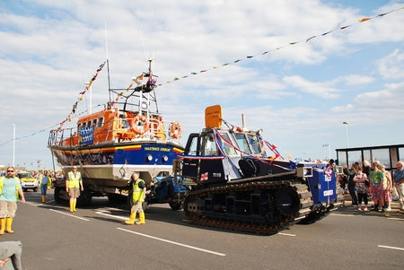 mersey: Hastings, England - August 10, 2013 - The Hastings lifeboat Sealink Endeavour takes part in the annual Old Town Carnival parade  The Mersey class boat started service in 1989