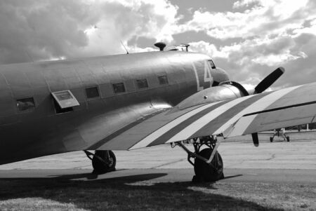 Dunsfold, England - August 23, 2014 - Douglas C-47A Dakota on display at the Dunsfold airshow. The former RAF aircraft was built in 1943.