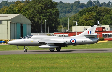 royal air force: Dunsfold, England - August 23, 2014 - Hawker Hunter T7, XL577, prepares to take off at the Dunsfold airshow. The aircraft first entered service with the Royal Air Force in 1958.