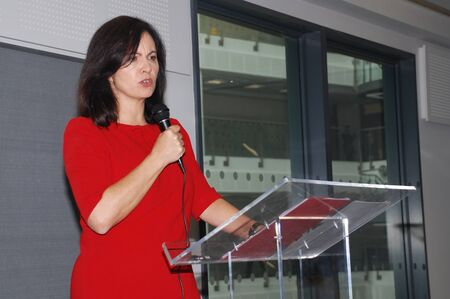 flint: Hastings, England - November 10, 2014 - Caroline Flint, Shadow Secretary of State for Energy and Climate Change and Labour M.P. for Don Valley, speaks at an energy efficiency policy launch. Editorial