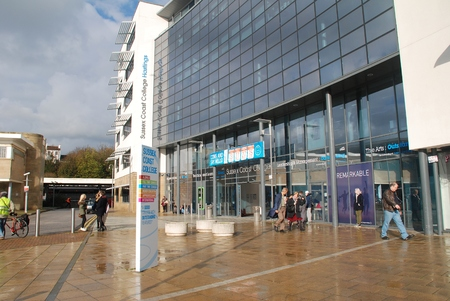 teaching stations: Hastings, England - November 10, 2014 - The exterior of the Sussex Coast College at Station Plaza. The 22,000sq metre Sixth Form and Further Education college was completed in 2009.