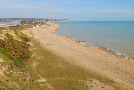 galley: Hastings, England - March 10, 2015 - Looking down from Galley Hill onto the pebble beach at Glyne Gap between Hastings and Bexhill-on-Sea in East Sussex.