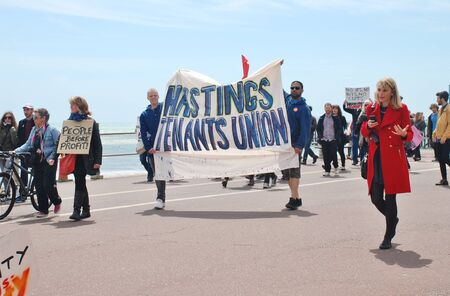 austerity: Hastings, England    - May 30, 2015  - Protestors take part in a march to demonstrate against austerity and Government cutbacks.