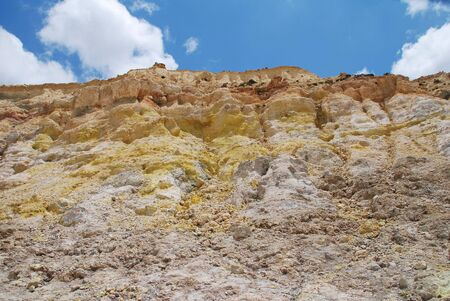 vulcanology: Yellow sulphur crystals on the walls of the Stefanos volcano crater on the Greek island of Nisyros. The popular tourist attraction is still active and kept under close monitoring.