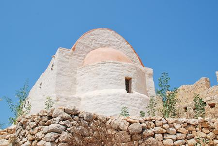 halki: The newly restored chapel within the medieval Crusader Knights castle above Chorio on the Greek island of Halki.