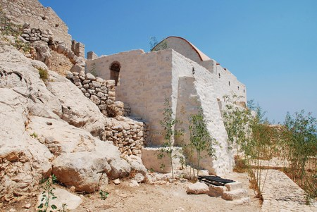 halki: The newly restored chapel in the medieval Crusader Knights castle above Chorio on the Greek island of Halki.