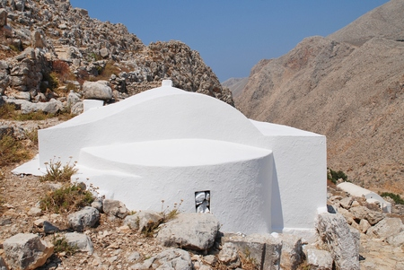 halki: The Church of The Holy Trinity in the hills above Chorio on the Greek island of Halki.
