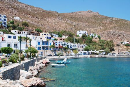 Tilos, Greece - July 19, 2016 - Livadia harbour on the Greek island of Tilos. The 14.5km long Dodecanese island has a population of around 780 people.