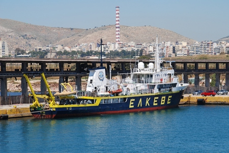 Athens, Greece - April 26, 2017 - Aegaeo, maritime research vessel of the Institute of Oceanography (part of the Hellenic Centre for Maritime Research) moored at Piraeus port. The vessel was built in 1985 in Greece.